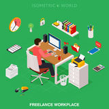 Professional freelancer working on desktop computer at desk. Flat 3d isometric technology concept royalty free illustration