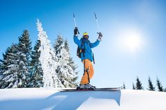 Skier resting on top of the mountain Stock Photography