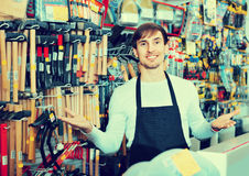 Professional friendly salesman working and smiling Stock Image