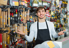 Professional friendly salesman working and smiling Stock Photo