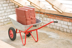 Professional galvanized wheelbarrow Stock Photos
