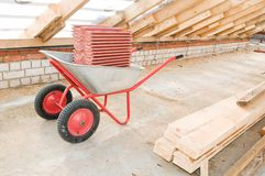 Professional galvanized wheelbarrow Royalty Free Stock Photos