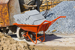 Professional galvanized wheelbarrow Stock Photo