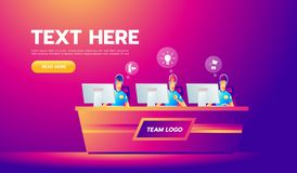 Professional gamers team with headsets at the table at computer playinng video games. E-sports team concept. Team banner. Template with copy space vector illustration