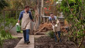 Gardeners are working in the greenhouse, man is watering plants, woman is walking on path. Professional gardeners at work in the greenhouse, man is watering stock video footage