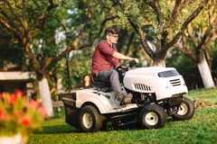Professional gardner using lawn mower and cutting grass. In outdoor garden Stock Photos