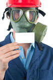 Professional with gas mask and helmet Stock Photography