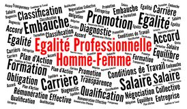 Professional gender equality in french language word cloud stock illustration