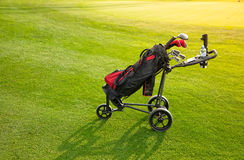 Professional golf clubs in a baggage at sunset Royalty Free Stock Photo