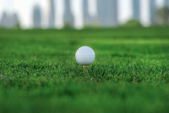 Professional golf. Golf ball is on the tee for a golf ball on th Stock Photo