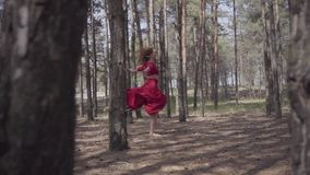Professional graceful young woman in red dress dancing in the forest landscape. Dancer showing classic ballet poses and stock footage