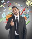 Professional growth. Businessman satisfied and happy for professional growth stock image