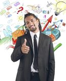 Professional growth. Businessman satisfied and happy for professional growth stock photography