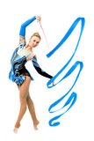 Professional gymnast with ribbon Royalty Free Stock Images