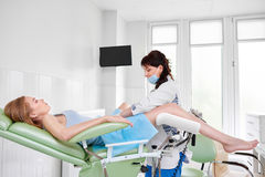 Professional gynecologist examining her patient. Young women lying in gynecological chair during gynecological checkup with her doctor medicine healthcare stock image
