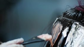 Professional hair color in the beauty studio. stock video footage