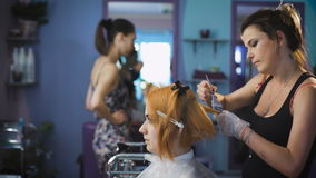 Professional hair color salon. Pretty and smiling girl came to her stylist stock video