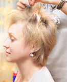 Professional hair styling. Royalty Free Stock Photo