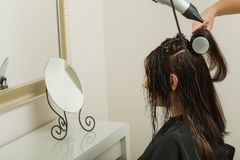 Hairdresser styling woman dark long hair Stock Photos