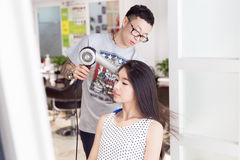 Professional hair stylist Royalty Free Stock Photography