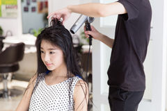 Professional hair stylist Stock Photo