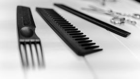 Groomer, barber and hairstyle website and print image of professional combs and scissors set. Professional haircut combs, scissors, clips, bowl, coloring Stock Photo