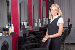 Professional hairdresser in beauty salon Royalty Free Stock Images