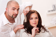 Professional hairdresser choose hair dye color Stock Photography
