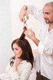 Professional hairdresser cut with scissors Stock Photography