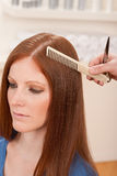 Professional hairdresser cut with scissors Royalty Free Stock Photos