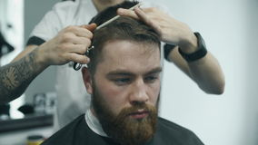 Professional hairdresser cutting hair stock video
