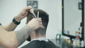 Professional hairdresser cutting hair with comb stock video footage