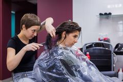 Professional hairdresser doing hairstyle for client Royalty Free Stock Images