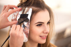 Professional hairdresser dyeing hair of her client Stock Photo