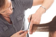 Professional hairdresser with long hair model Royalty Free Stock Photos