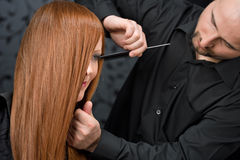 Professional hairdresser at luxury salon Royalty Free Stock Photography