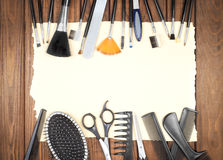 Professional hairdresser and make up tools Royalty Free Stock Photos