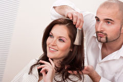 Professional hairdresser at salon Royalty Free Stock Photos