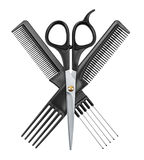 Professional hairdresser scissors and two combs. Isolated on white background Stock Photography