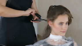 Professional hairdresser, stylist coloring teen girl hair. In white make up room stock video