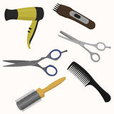 Professional hairdresser tools. Scissors, hair dryer, comb hair clipper Royalty Free Stock Photography