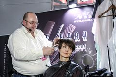 Professional hairdresser works Stock Photography