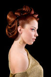 Professional hairstyle. Portrait of a cute model with beautiful hair Stock Images
