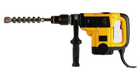 Professional hammer drill. Modern, new, powerful, professional hammer drill with the function of a jackhammer, on a white background stock image
