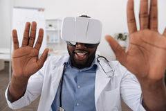 Professional handsome scientist testing virtual reality Royalty Free Stock Image