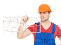 Professional handyman drawing plan Royalty Free Stock Photography
