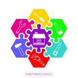 Professional handyman services logo. Concept handyman services. Hexagonal colorful puzzles and  icons of tools for remodel. Flat design. Vector illustration Royalty Free Stock Image