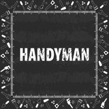 Professional handyman services . Vector banner template with tools collection on black chalkboard texture background. Flat design. Vector illustration EPS10 Stock Photo