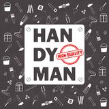 Professional handyman services . Vector pattern with tools collection on black chalkboard texture background. Flat design. Vector illustration EPS10 Royalty Free Stock Photos