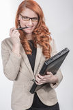 Professional Happy Red Hair Woman Royalty Free Stock Photography
